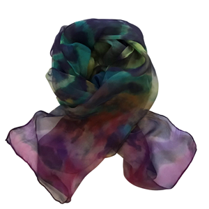Handmade long silk scarf in beautiful deep purples, teal with highlights of yellow