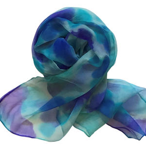 Handmade long silk scarf in purple, blue and teal