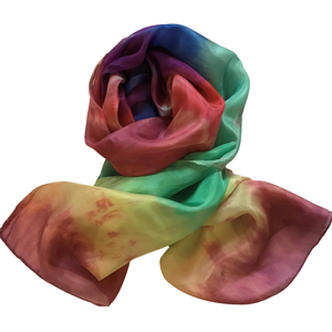 Handmade long silk scarf in beautiful shades of the rainbow