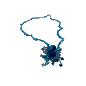 Blue bead necklace with rose detail