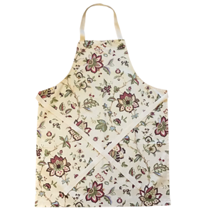 Handmade apron - leaves and flowers print