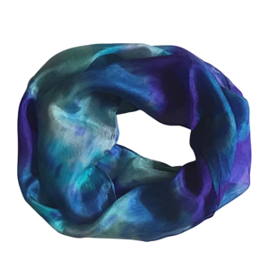 Handmade beautiful infinity scarf in deep blue and teal