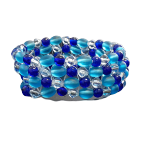 Handmade chunky beaded cuff bracelet in teal and blue