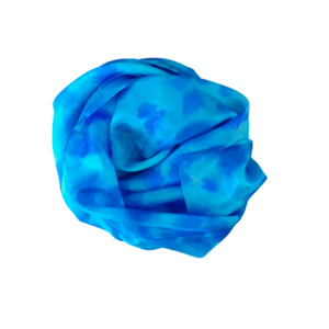 Beautiful square handmade smooth silk scarf a lovely pattern of teal and blue