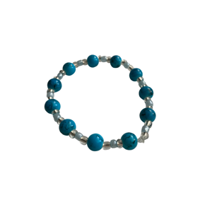 Blue and clear bead bracelet
