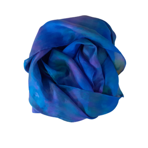 Beautiful long handmade smooth silk scarf in shades of deep blue and teal