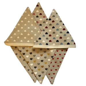 Handmade bunting with hearts for your home