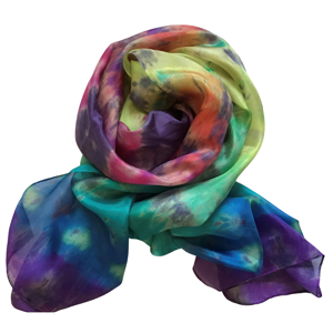 Handmade long silk scarf in the colours of the rainbow