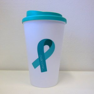 Thermos Travel Mug Teal Ribbon with screw top